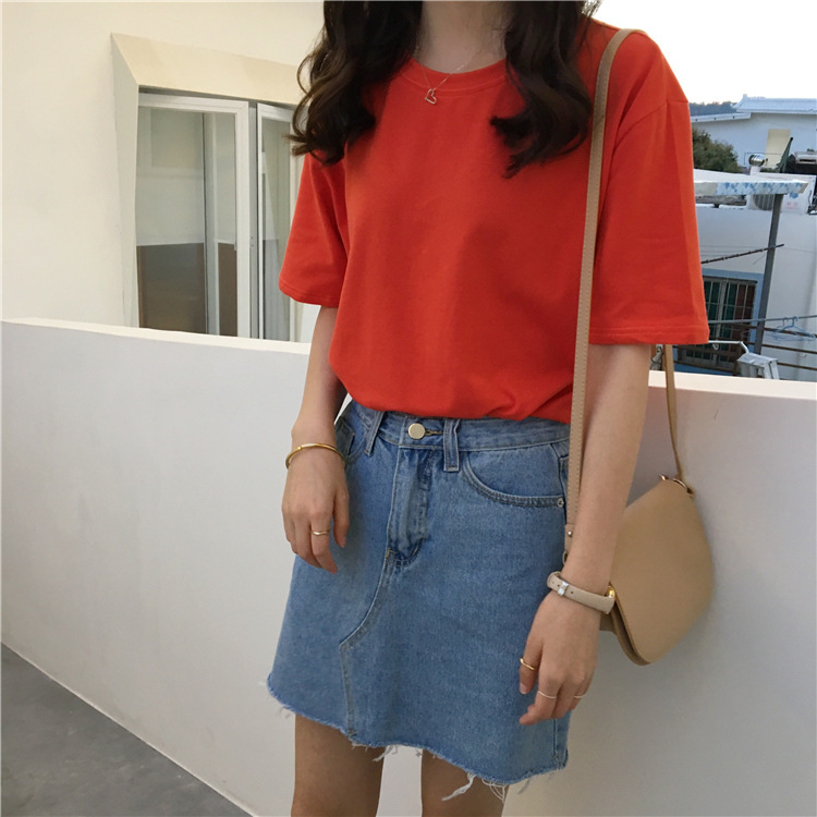 DUOUPA Women 39 s Casual Short sleeved Shirt Summer Fashion Solid Color Ladies Fashion Harajuku Tumblr Women 39 s Shirt Blusa in Blouses amp Shirts from Women 39 s Clothing