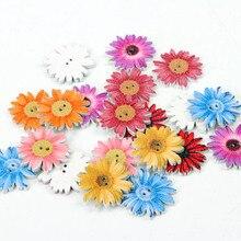 Подсолнух случайный смешанный цветок Раскрашенные Деревянные Пуговицы декоративные пуговицы для пришивания скрапбукинга ремесла 20 шт 25 мм MT1558