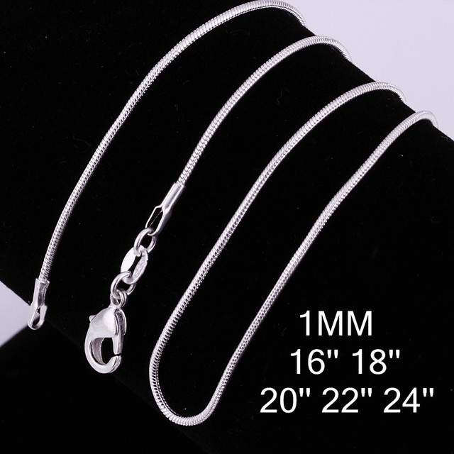 """Cheap Hot 1MM Thin Top quality 925 stamped silver plated Snake Chain Jewelry Findings 16""""18""""20""""22""""24"""" Wholesale price C008"""