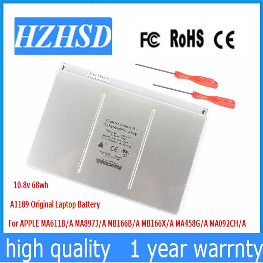 10.8 v 68WH Nouveau Original A1189 batterie d'ordinateur portable pour Apple Mac Pro17Inch A1151 MA611 MA458 MB166