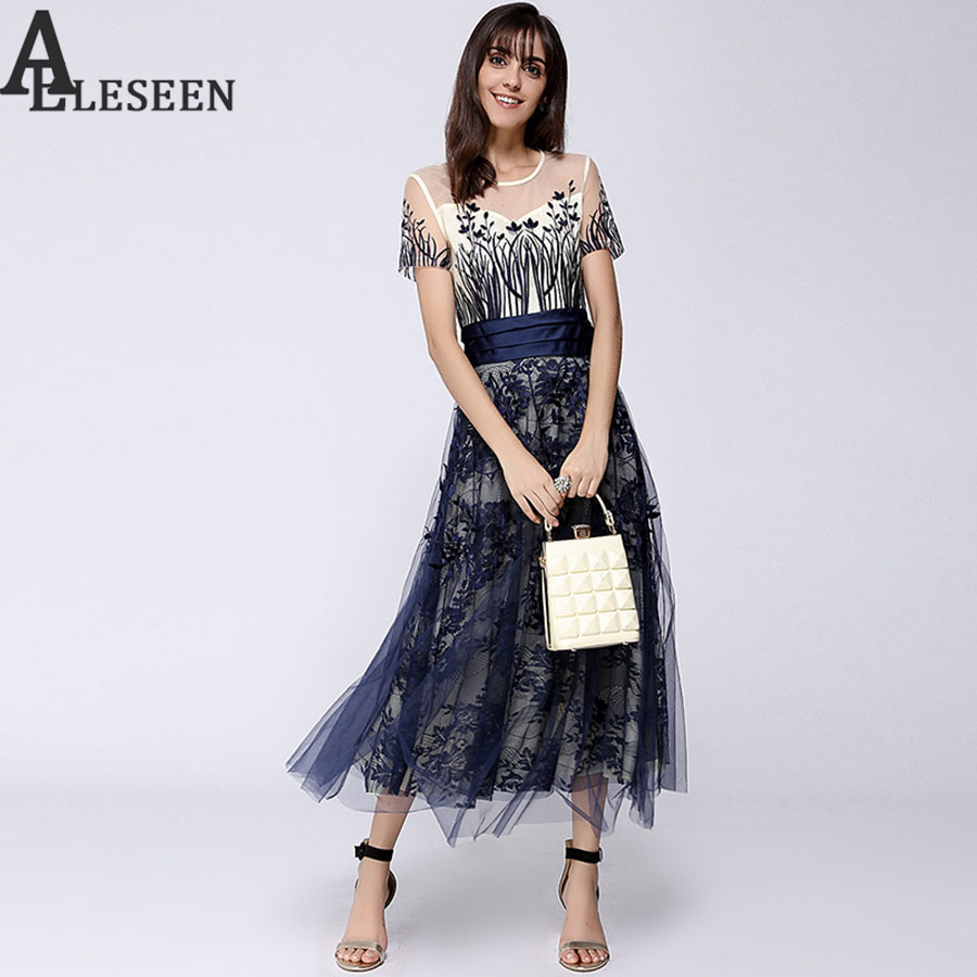Ladies Mesh Dress Summer 2018 Short Sleeve Ankle Length Hollow Out Lace Navy Flower Embroidery Slim