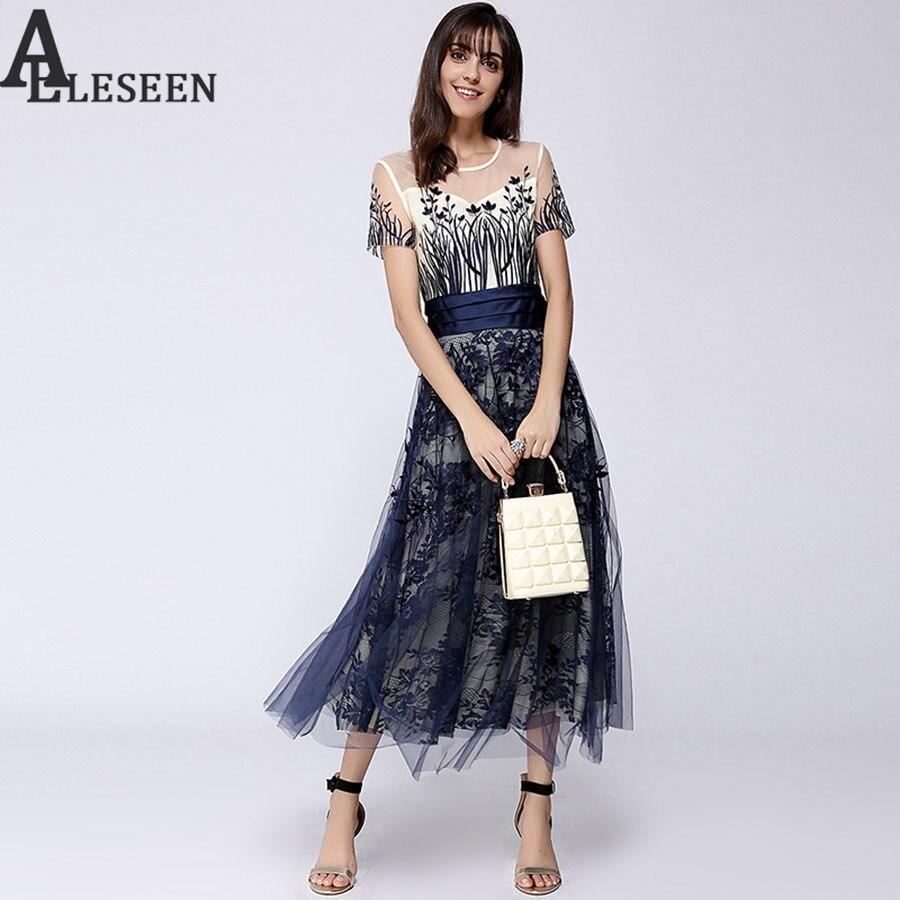 숙녀 메쉬 드레스 여름 2018 짧은 소매 발목 길이 속이 빈 레이스 해군 꽃 자수 슬림 롱 드레스-에서드레스부터 여성 의류 의  그룹 1