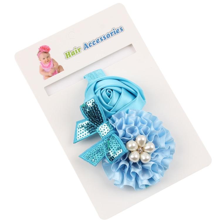 TWDVS Flor recién nacida Banda para el cabello Rosa Perla Elástica - Accesorios para la ropa - foto 3