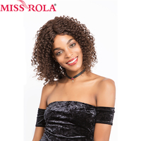 Miss rola Pre-Colored Human Hair Wigs #2/4Color Brazilian kinky Curly Short Hair Wigs for black women 14inch