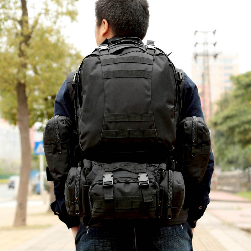 Unisex Outdoor MOLLE Webbings Backpack Vintage Military Tactical Backpacks 65L Hiking Camping Camouflage Backpack Climbing Bags sports travel airsoft tactical knapsack camping climbing backpack 600d nylon hiking hunting vintage military bag camouflage