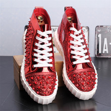 Casual Shoes Mens Rivets High Top Sneakers Flats Fashion Ankle Lace-up Shoes Ankle Boots Zapatillas Hombre 8#29D50 2016 luxury brand mens high top flats shoes vintage full leather lace up ankle boots tialian handmade elegant mens formal shoes