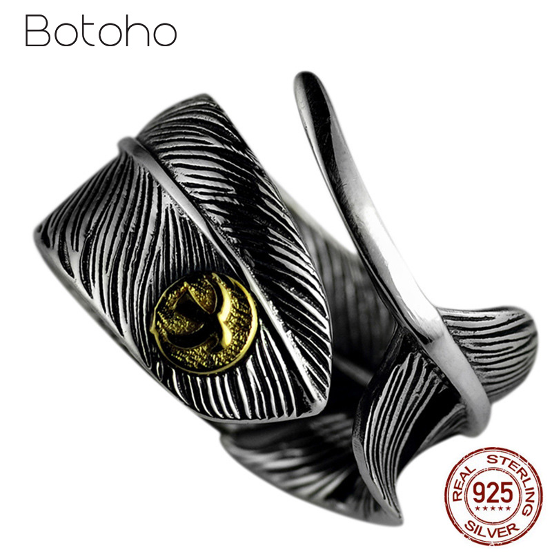 925 Sterling Silver Feather Ring for Men Women Adjustable Takahashi Flying Bird Designed Ring Vintage Punk Style Fashion Jewelry
