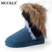MCCKLE Ante de Las Mujeres Botas de Nieve de Costura Slip-En Mitad de la Pantorrilla botas de Invierno Botas de Piel Falsa Mujer Zapatos Planos Calientes Borlas ribete de Calzado
