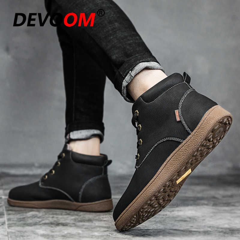 Лидер продаж; Новинка 2018 зимние сапоги Для мужчин модные мокасины Мужские кожаные туфли одноцветное Мужские ботинки Повседневное Обувь на теплом меху зимние сапоги плюс Размеры