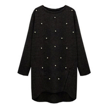 Women Beading Sweaters Gilet Long Sweater Knitted Pullover