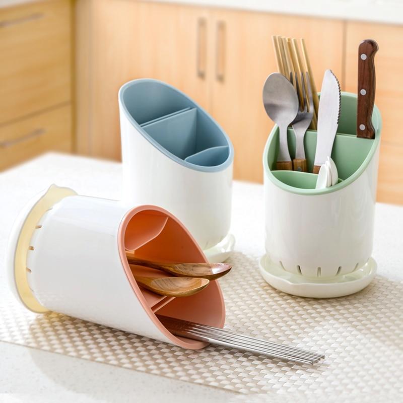 Kitchen Cutlery Storage Rack Multi-Function Chopstick Spoon Fork Knife PP Drainn Storage Rack Tableware Hollow Drain Rack