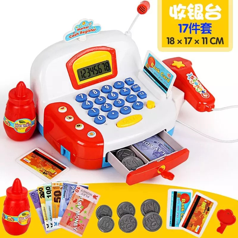 17PCS Kids Supermarket Cash Register Electronic Toys with Foods Basket Money Children Learning Education Pretend Play Set