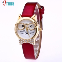 Fashion Cute Glasses Cat font b Women b font Analog Quartz Dial Wrist font b Watch