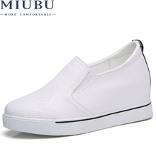 MIUBU Hidden Heels White Platform Wedges Sneakers Women Shoes High Top PU Leather Tenis Feminino Casual Basket Flats цены онлайн