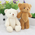 Mini Super Kawaii Teddy Bear Animal Stuffed Plush Toys Joint Bear Dolls Flower Bouquets Wedding Party Decor 11cm 12pcs