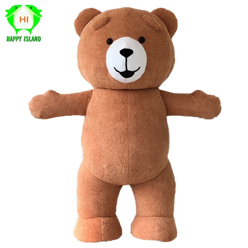 Happy Island Teddy Bear Inflatable Mascot Costume Halloween Cosplay Costume Advertising 2M Tall Customize for 1.6m To 1.8m Adult