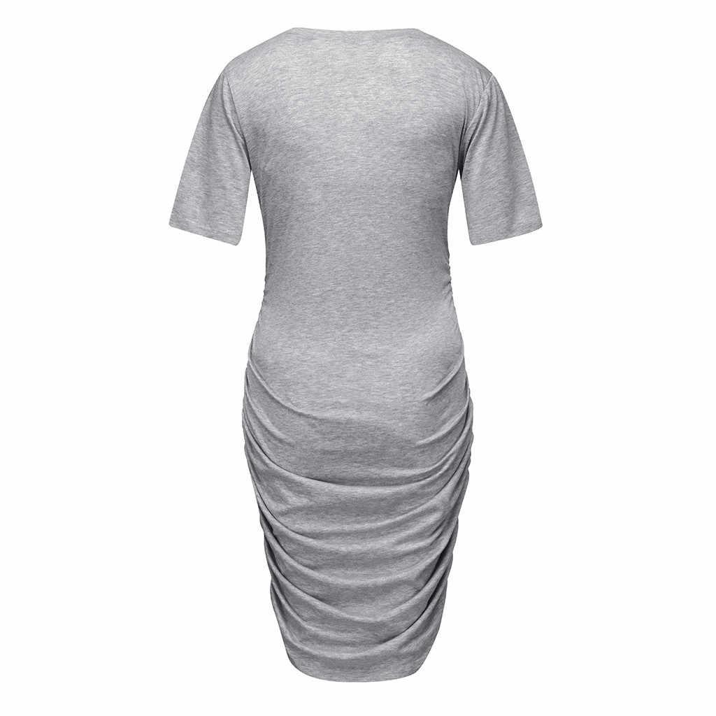 יולדות שמלות קיץ קצר שרוול קוריאני יולדות בגדי קיץ מוצק שמלת הריון קיץ בהריון # G7