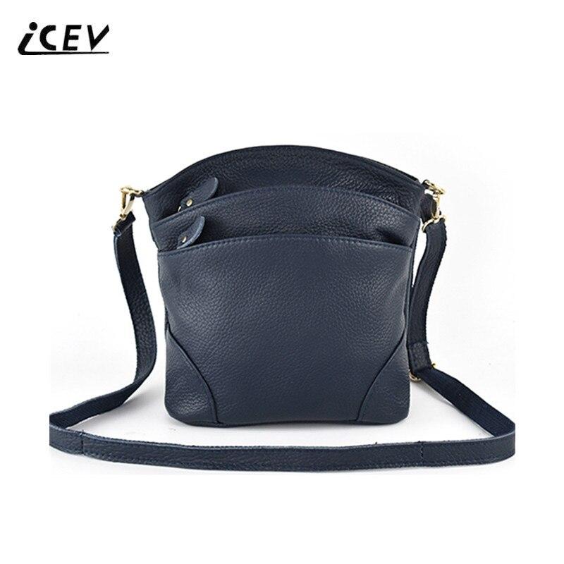 dc00b801b4fe ICEV новая 100% коровья натуральная кожа сумка сумки женские знаменитые  яловые сумки через плечо для женщин сумки-мессенджеры женские сумки че.