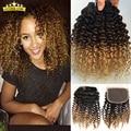 Grau 7A Ombre Brasileiro Virgem Cabelo Afro Kinky Curly 3 pacotes com lace closure barato weave brasileiro do cabelo humano com fechamento