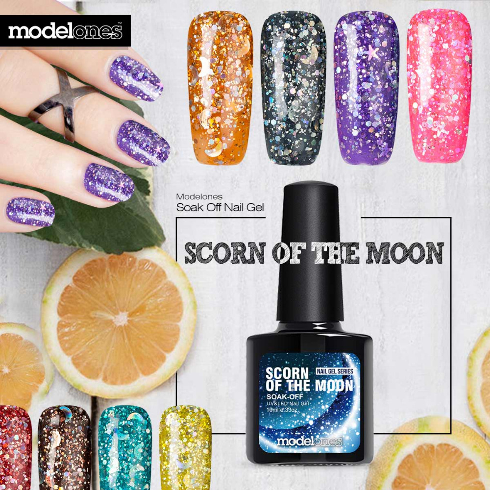 Colorful Glitter Gel Nail Polish Model - Nail Art Ideas - morihati.com
