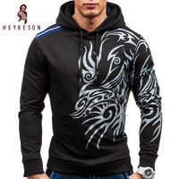 HEYKESON 2017 Hoodies Men Hombre Hip Hop Mens Brand Letter Hooded Zipper Hoodie Sweatshirt Slim Fit