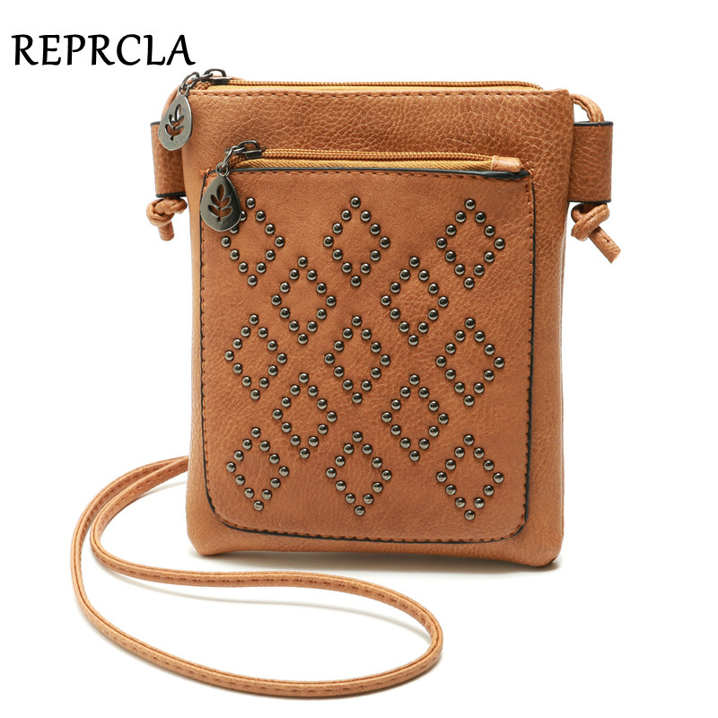 REPRCLA Small Shoulder Bag Vintage Rivet Women Messenger Bags For Phone PU Leather Mini Crossbody Bags High Quality Handbag