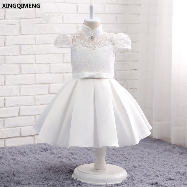 d90635c29 In Stock Ivory Satin Flower Girl Dresses 1-12Y Lace Cap Sleeve First Holy  Communion Dress for Girls Ball Gown vestido daminha