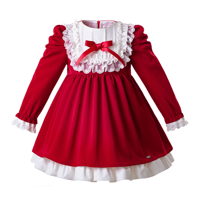0fd307bf3 Pettigirl Christmas Girl Dress Lace Red Girl Party Vintage Princess Dress  Long Sleeve New Year Costumes