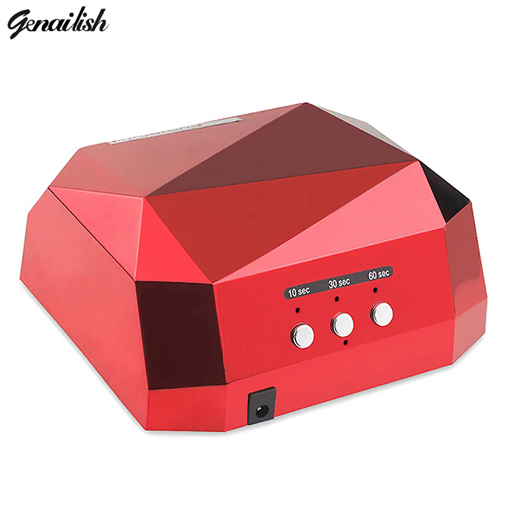 Genailish 36W UV Led Lamp Nail Dryer Diamond Shaped LED UV Lamp Nail Lamp Curing for UV LED Gel Nails Polish Nail Art Tools 36w uv led lamp nail dryer 4 color diamond shaped led uv lamp nail lamp curing for uv led gel nails polish nail art tools