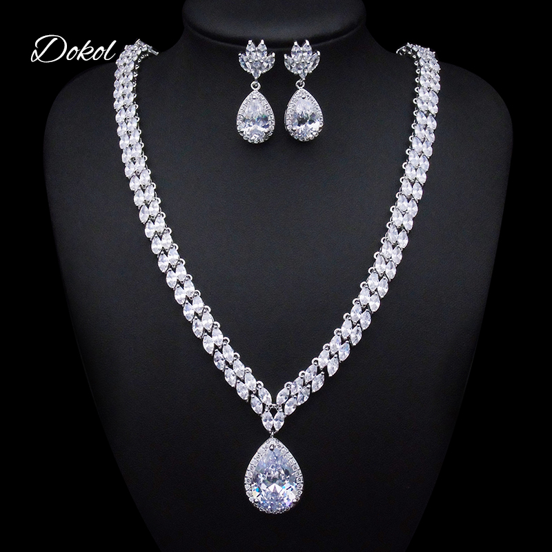 DOKOL Clear Water Drop Cubic Zirconia Jewelry Sets For Wedding Silver Color Clear Crystal Bridal Jewellery DKS0024DOKOL Clear Water Drop Cubic Zirconia Jewelry Sets For Wedding Silver Color Clear Crystal Bridal Jewellery DKS0024