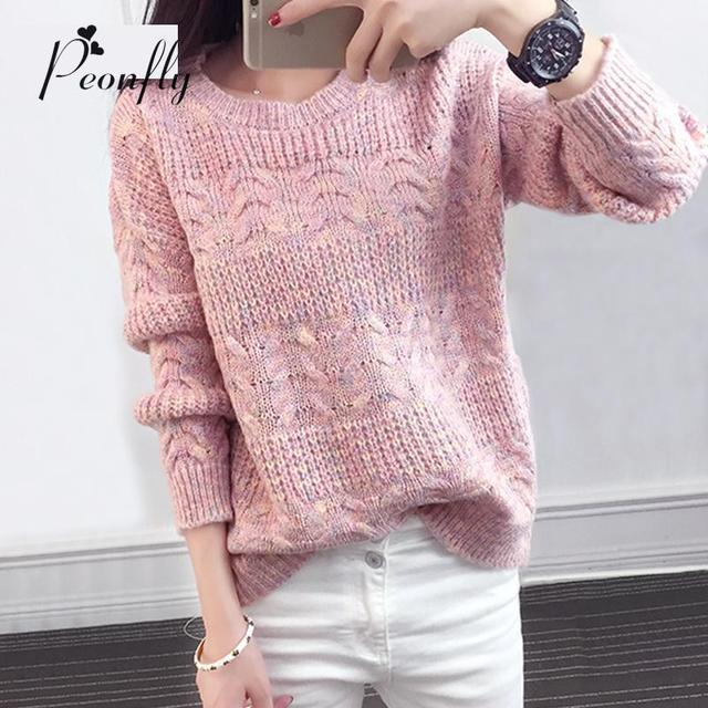New Arrivals Knitted Sweater Women 2016 Autumn Winter Long Sleeve Women Sweaters And Pullovers Female O-neck Jumper Pull Femme