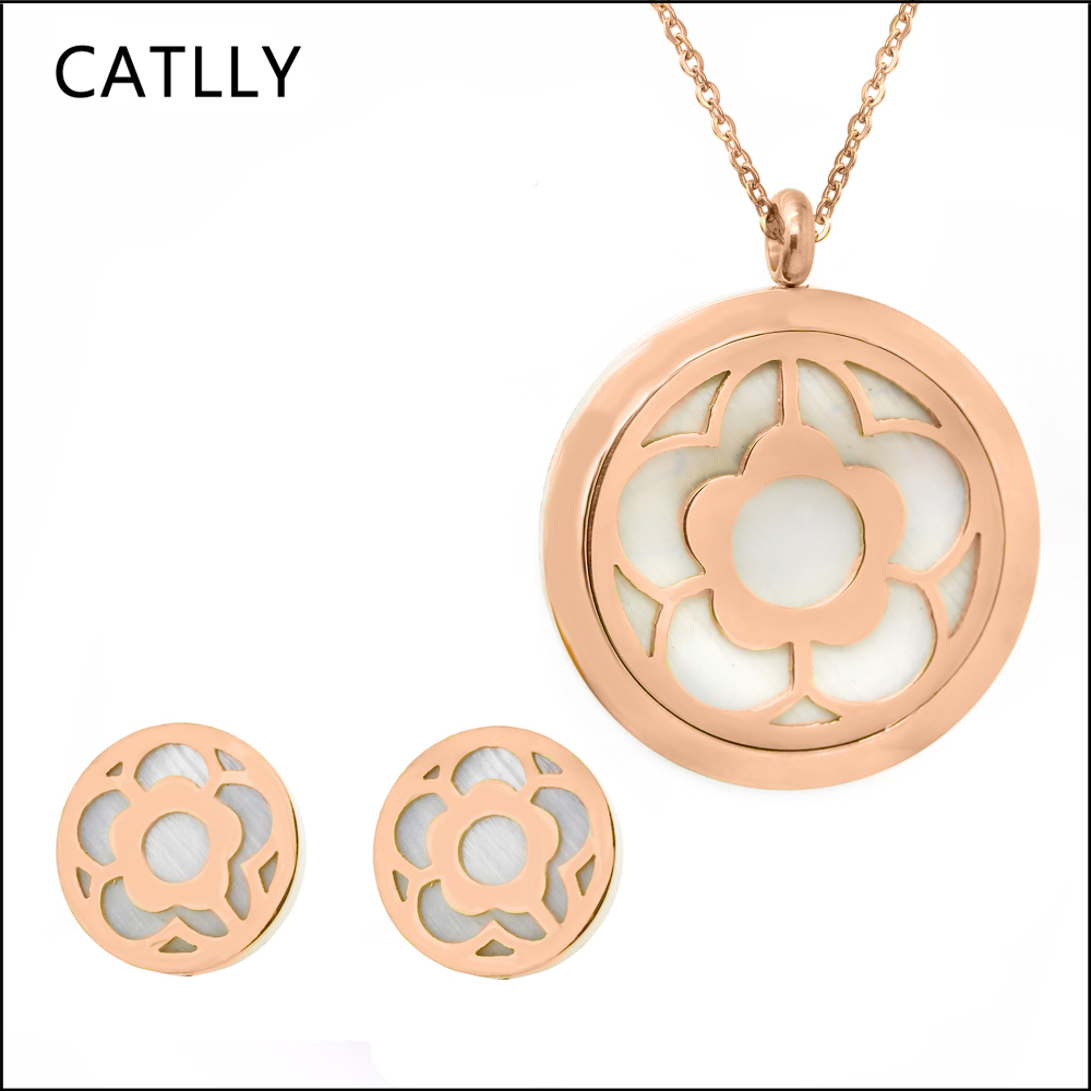 The new fashion jewelry Rose gold necklace pendant earring stainless steel round flower for lady free shippping
