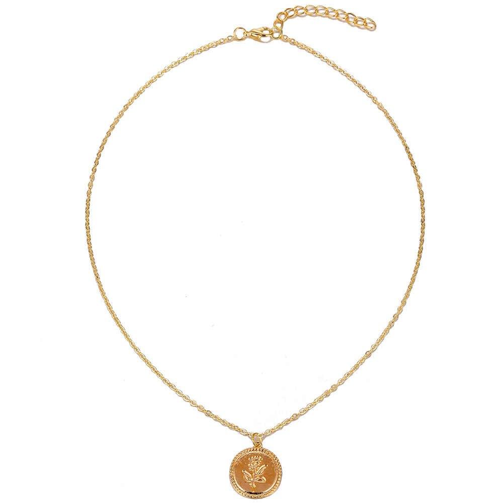DAXI modna róża uroku wisiorek naszyjniki dla kobiet dziewczyn prezent Vintage moneta łańcuch w kolorze złotym wyróżniający się naszyjnik biżuteria
