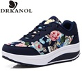 New spring autumn platform casual shoes  floral canvas shoes for women wedge fitness slimming swing shoes chaussure femme