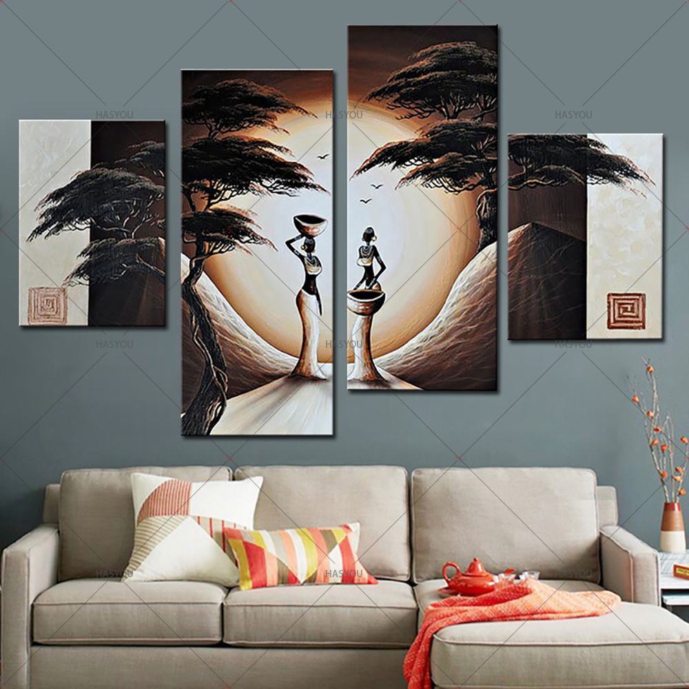 US $40 29 49% OFF 4Piece matriarchal society Painting Wall Art Picture  Modern Oil Painting on Canvas Home Decor Paintings for Living Room Wall -in
