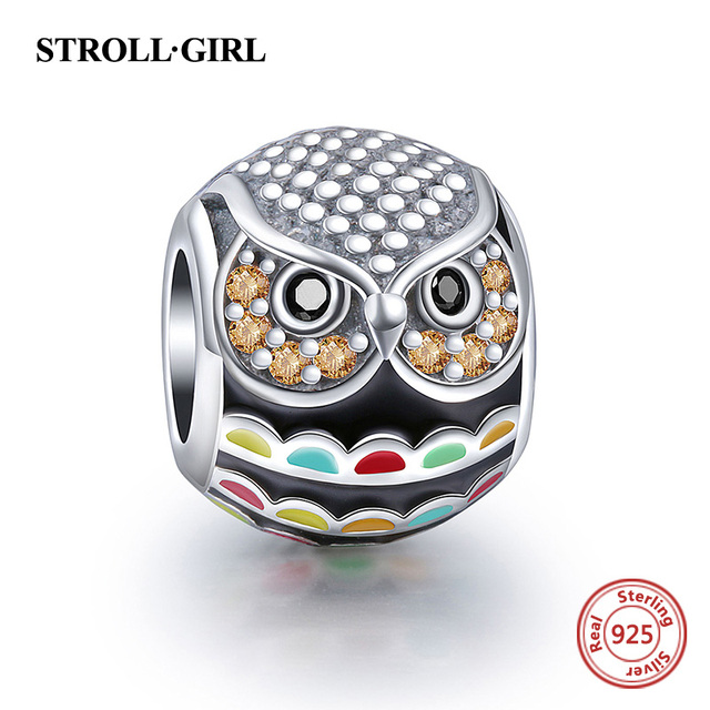 4b01b5440 Fit Pandora Bracelets & Bangles Original New Enamel Animal Owl Silver 925  Charm Beads Pendant Sterling
