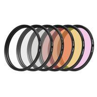6 unids UV CPL Filtro de La Lente ND2 58mm Graduado Kit de Accesorios de Color Filtro CPL gris Negro Púrpura Rojo Amarillo Claro para GoPro Héroe 5/6