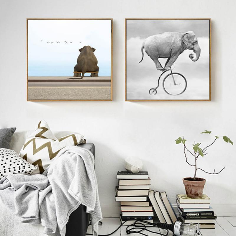 Abstract Elephant Canvas Ζωγραφική Ζώα Αφίσες Εκτυπώσεις Nordic Pop Wall Εικόνες τέχνης για παιδιά Καθιστικό Home Decor Χωρίς πλαίσιο
