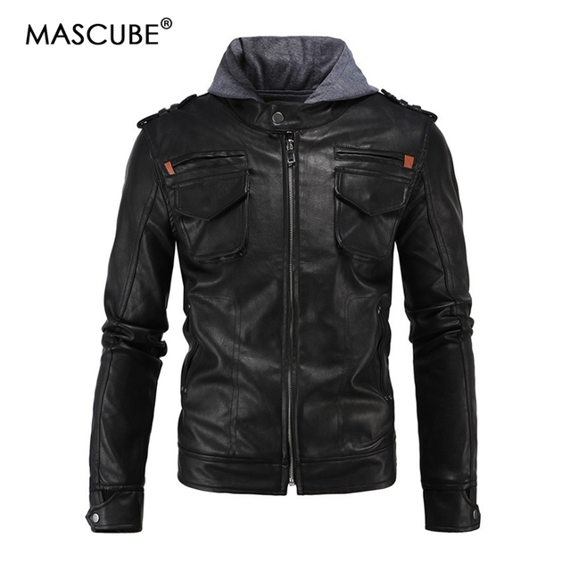5db9bb52591 MASCUBE Hooded Leather Jackets Men Coats Black Motorcycle Jackets With Hat Hoodie  Style Fashion Leather Jacket Big Size