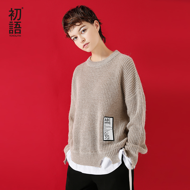 Toyouth Для женщин Свитеры для женщин свободные o Средства ухода за кожей шеи свитер для Для женщин поддельные из двух частей Пуловеры для женщи...
