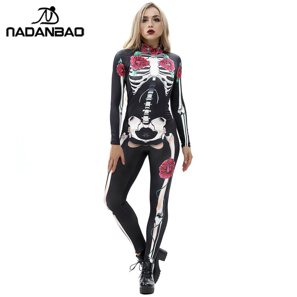 Halloween Costumes Scary Women.Us 14 15 47 Off Nadanbao Rose Mechanical Bone Costume Scary Halloween Costumes For Women Skeleton Skull Floral Butterfly Bodysuit In Scary Costumes