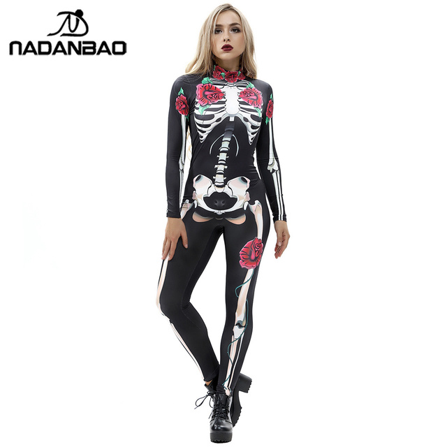 afbacb11611bc NADANBAO Rose Mechanical Bone Costume Scary Halloween Costumes For Women  Skeleton Skull Floral Butterfly Bodysuit