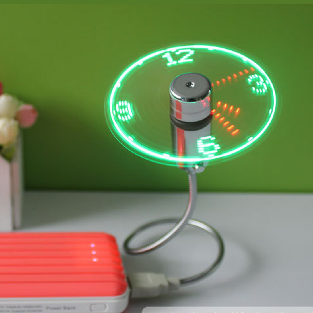 NOYOKERE Hot Mini USB Fan gadgets Flexible Gooseneck LED Clock Cool For laptop PC Notebook Time Display high quality Adjustable