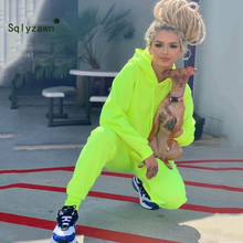 2019 Neon Green Solid Tracksuit Women Set Casual Outfit Cute Two Pieces Pants Suit Long Sleeve Clothing Streetwear Femme