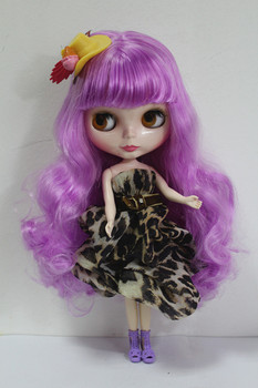 Blygirl Blyth doll Fluorescent Purple Bauhinia Hair No.3822 Normal Body 7 Joints 1/6 Body DIY Dolls Hair Soft for your makeup