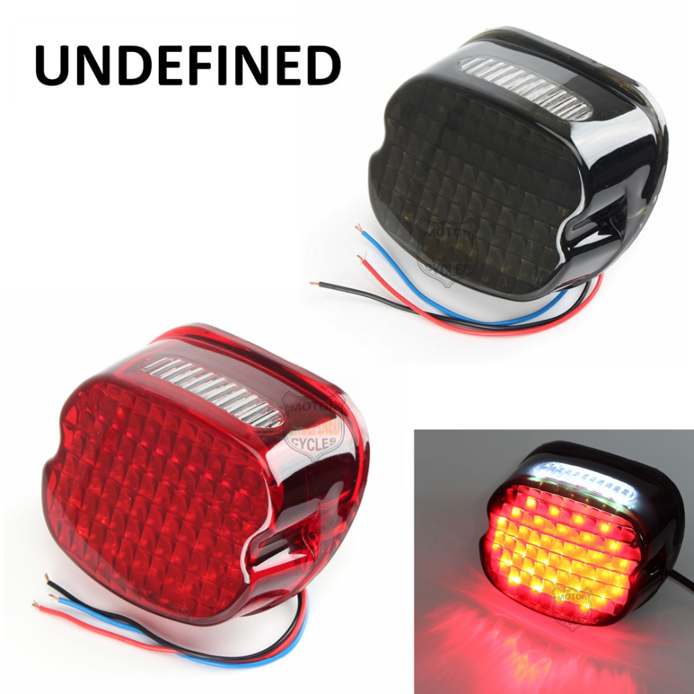 New 12V Smoke Red Layback LED Tail Brake License Plate Light For Harley Softail Fatboy FXST Dyna Night Train FXD UNDEFINED