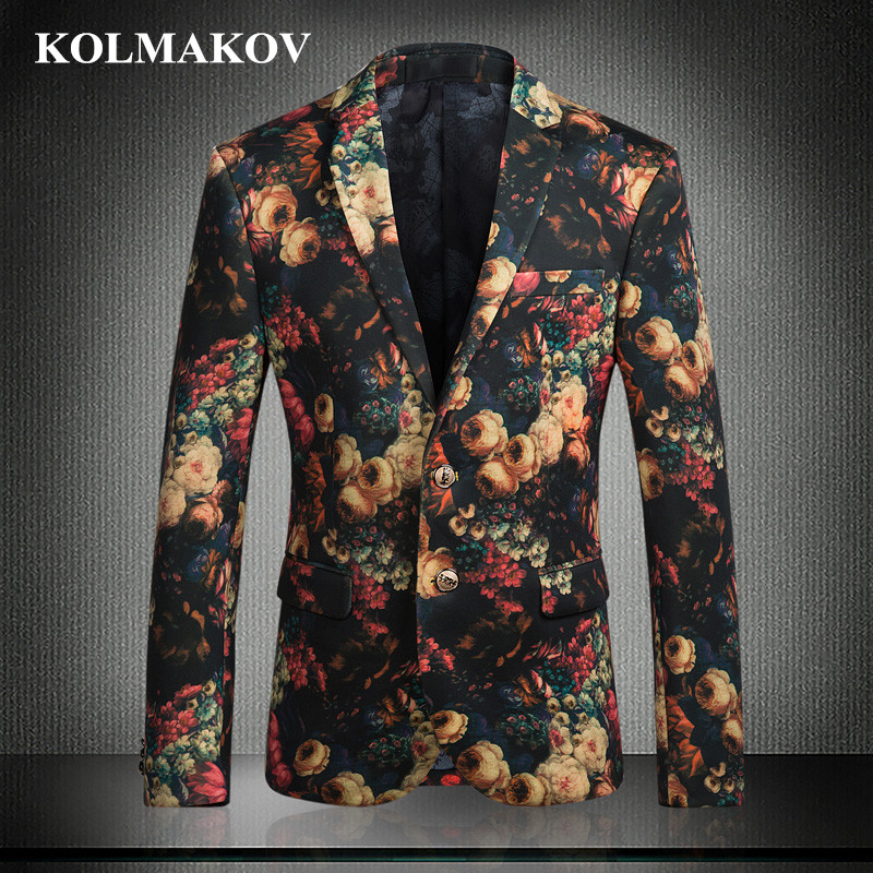 NEW Fashion Blazers Men 2019 Autumn Men's Blazer Suit Jackets England Style Stage Floral Printed Coats Homme Large Size M-5XL