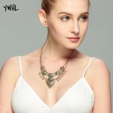 Fashion retro boho sweater chain green stone ethnic style tassel necklace jewelry