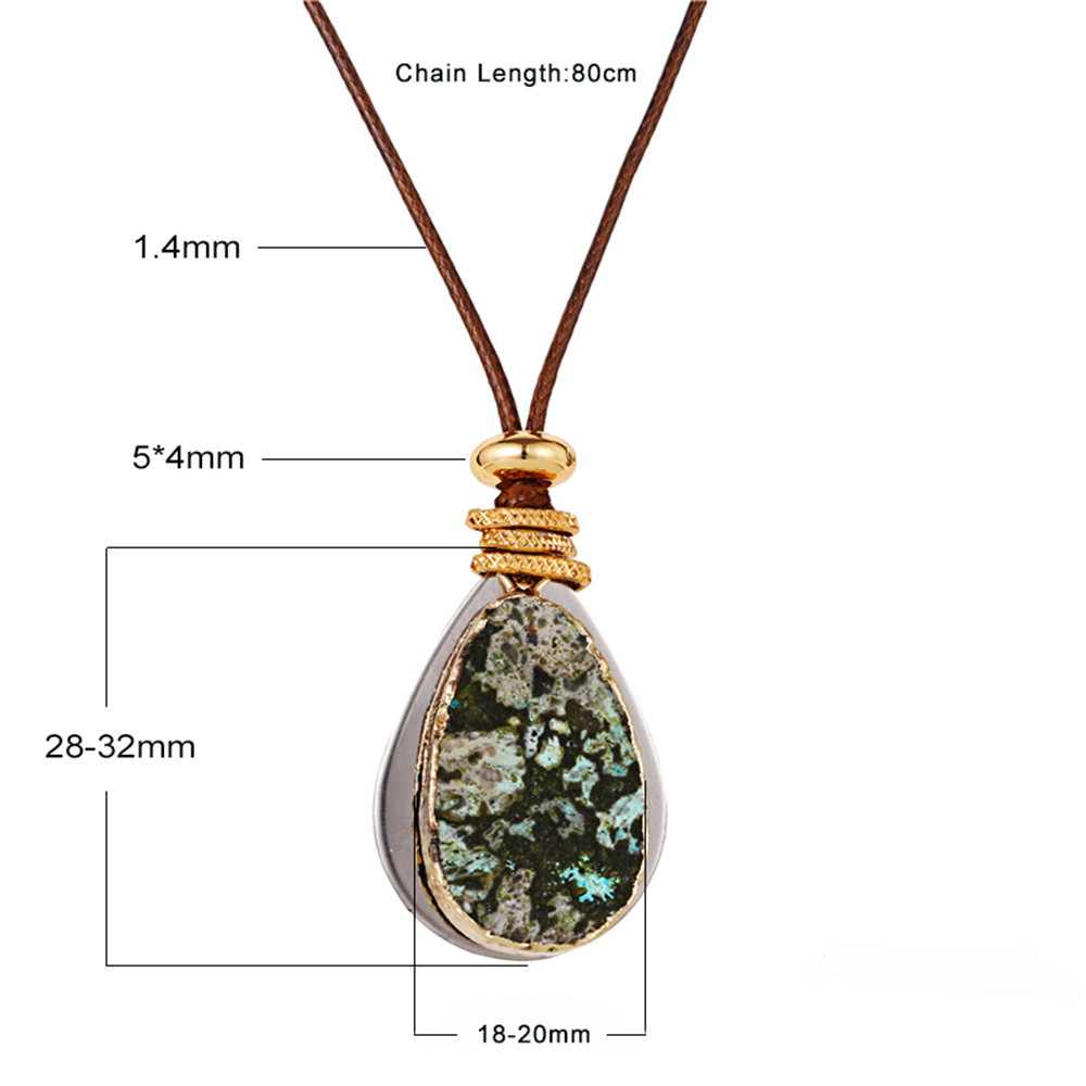 Various Pattern Stainless Steel Pendant Leather Chain Statement Necklace Jewelry