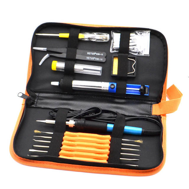 Adjustable Welding Repair Tool Kit with 5 Tips Solder Wire Tweezers EU Plug 60W 220V Electric Soldering Iron Set Temperature